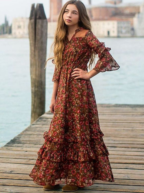 Joyfolie Mariana Dress in Rust Floral