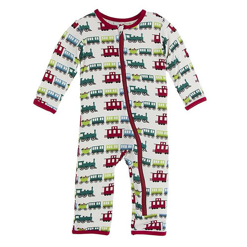 Print Coverall with Zipper Natural Toy Train