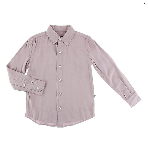 Solid Long Sleeve Woven Button Down Shirt Feather