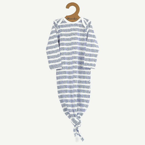 Oliver& Rain White and Blue Dash Stripe Baby Gown (One Size)