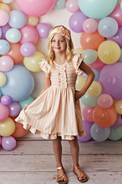 Swoon Baby Stripe Flutter Tunic w/ Shortie Peachy Sorbet