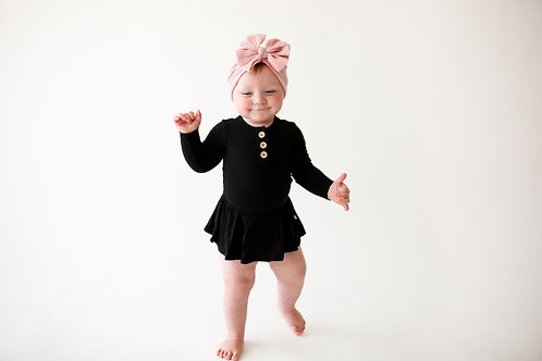 Posh Peanut Solid Ribbed Black Long Sleeve Henley w/ Twirl Skirt Bodysuit