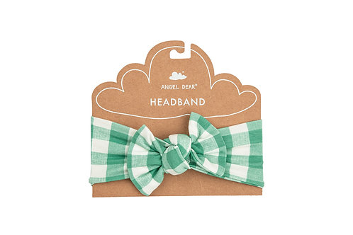Angel Dear Green Gingham Headband