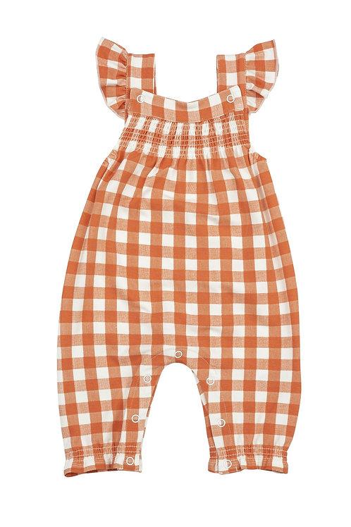Angel Dear Gingham Pumpkin Pocket Smocked Front Coveralls