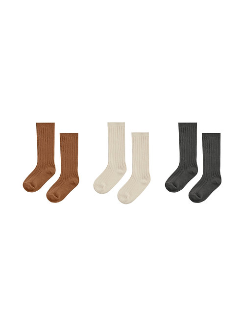 Rylee + Cru Knee Sock Set of 3 Cinnamon/Natural/Black