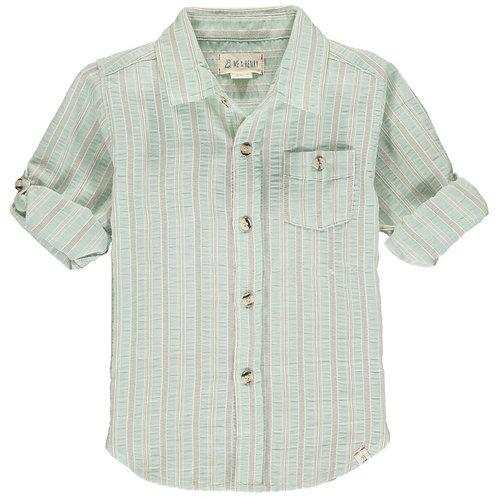 Me & Henry Merchant Long Sleeve Shirt Pale Green Stripe