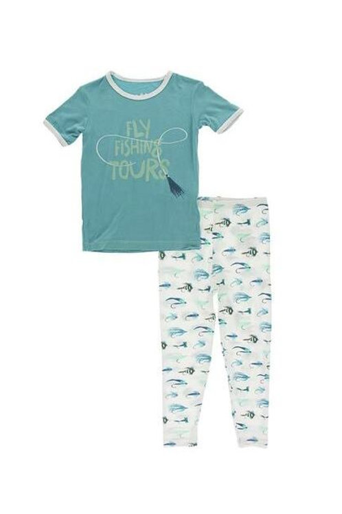 Graphic Tee Pajama Set Natural Fishing Flies