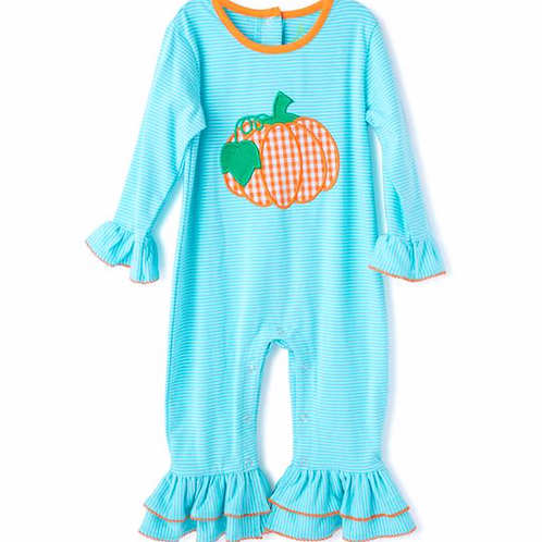 BeMine Applique Pumpkin Girl's Romper