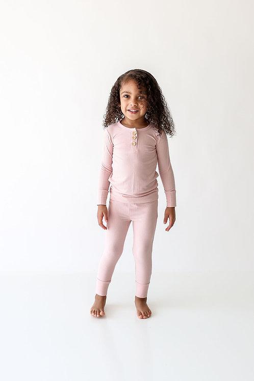 Posh Peanut Solid Ribbed Sweet Pink Long Sleeve Henley Loungewear