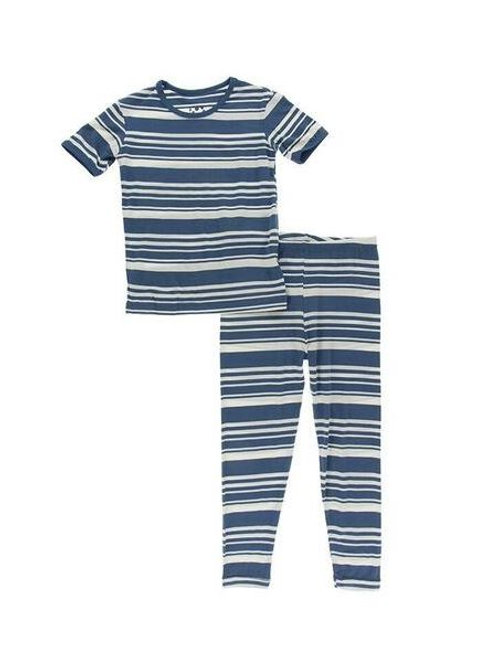Short Sleeve Pajama Set Fishing Stripe