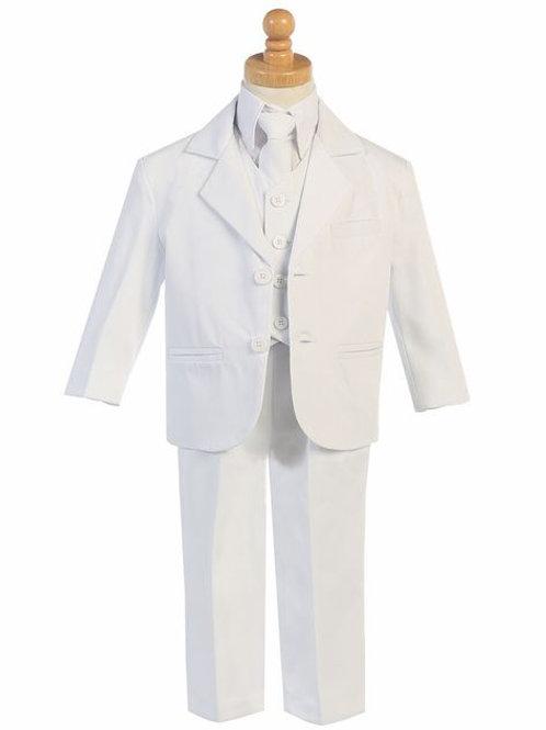 Little Gents Boys 5 Piece Suit White