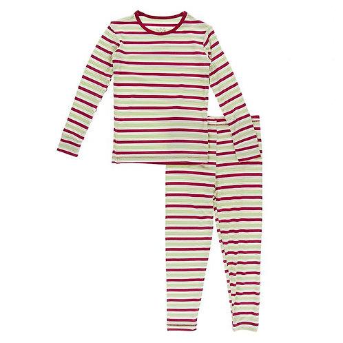Print Long Sleeve Pajama Set 2020 Candy Cane Stripe
