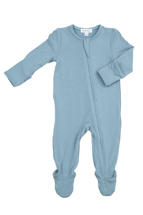 Angel Dear Solid Basic Blue Zipper Footie