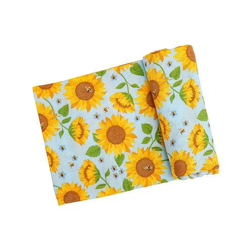 Angel Dear Sunflowers Swaddle Blanket Whispering Blue 47x47