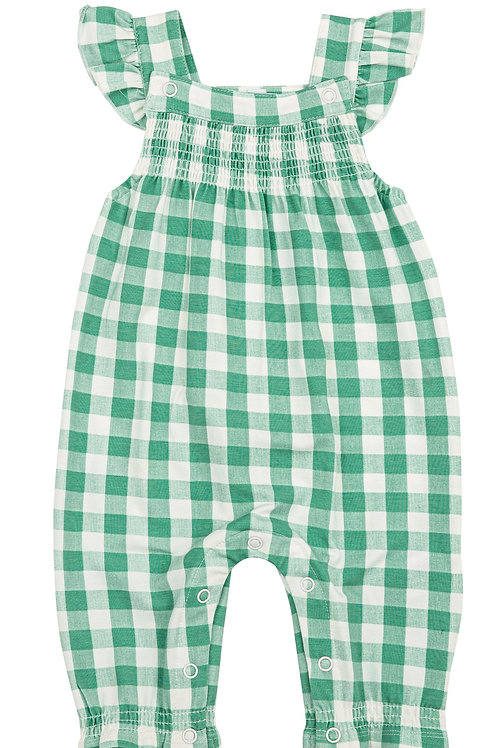 Angel Dear Green Gingham Smocked Front Coverall