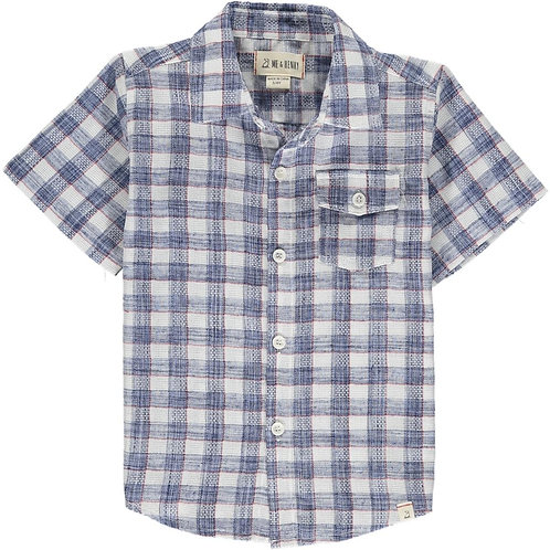 Me & Henry Newport Short Sleeve Shirt Blue/Red Madras Plaid