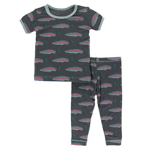 Short Sleeve Pajama Set Stone Rainbow Trout