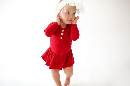 Posh Peanut Solid Ribbed Crimson Long Sleeve Henley w/ Twirl Skirt Bodysuit