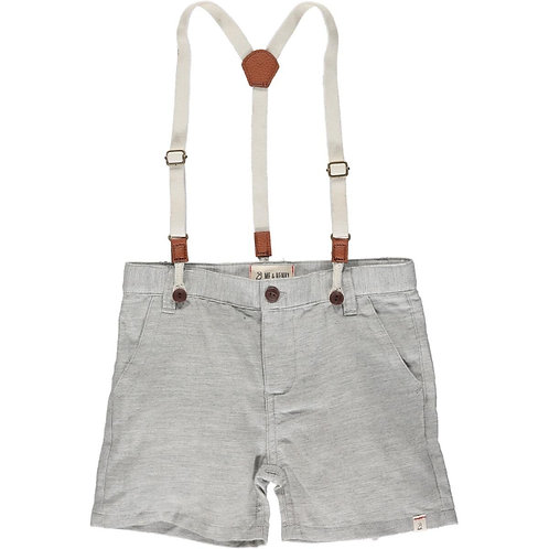 Me & Henry Captain Shorts with Suspenders Pale Grey