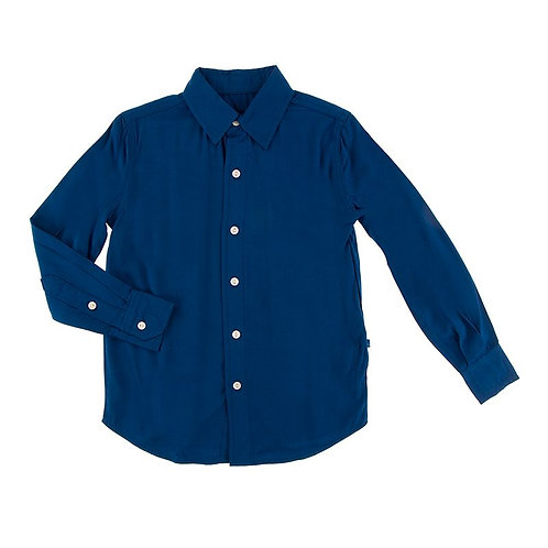Solid Long Sleeve Woven Button Down Shirt Navy