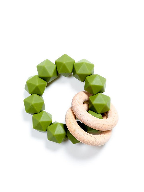 Abby Silicone & Beech Wood Rattle Army Green