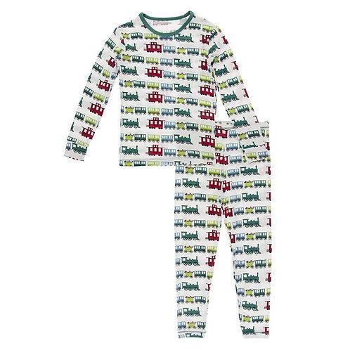 Print Long Sleeve Pajama Set Natural Toy Train