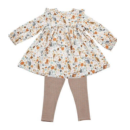 Angel Dear Autumn Owls Ruffle Dress and Legging