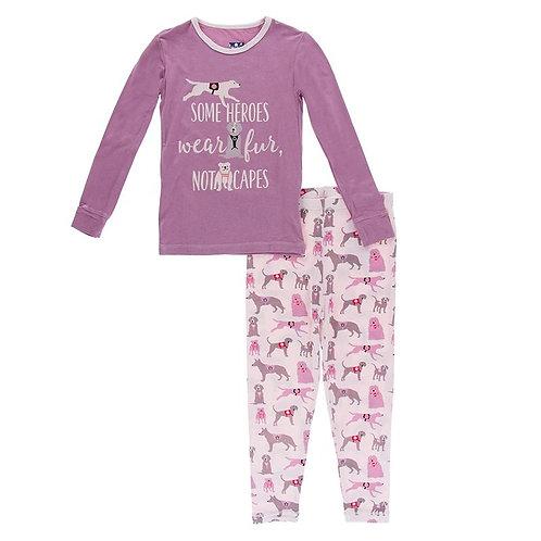 Long Sleeve Piece Print Pajama Set Macaroon Canine First Responders
