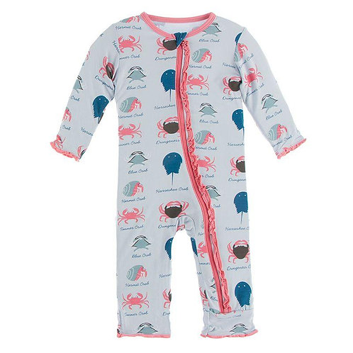 Muffin Ruffle Coverall with Zipper Dew Crab Types