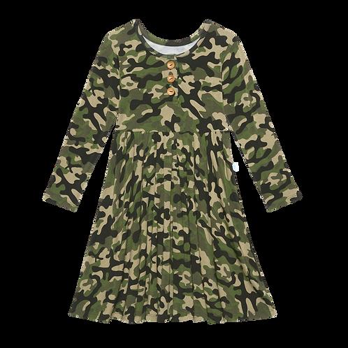 Posh Peanut Cadet Long Sleeve Henley Twirl Dress