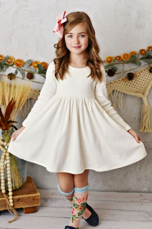 Swoon Baby Ivory Ribbed Ballet Dress