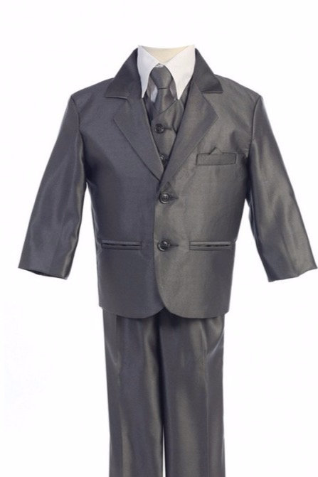 Lito Childrens Wear Boys 5 Piece Suit Pewter