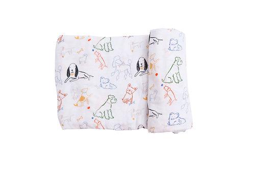 Angel Dear Bark Life Swaddle Blanket Multi