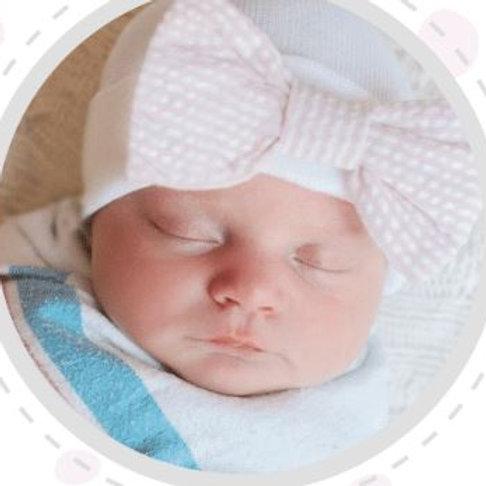 ilybean Seersucker Pink Bow Hat