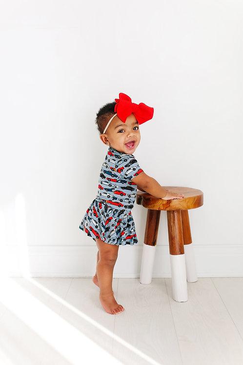 Posh Peanut Miles Short Sleeve Basic with Twirl Skirt Bodysuit