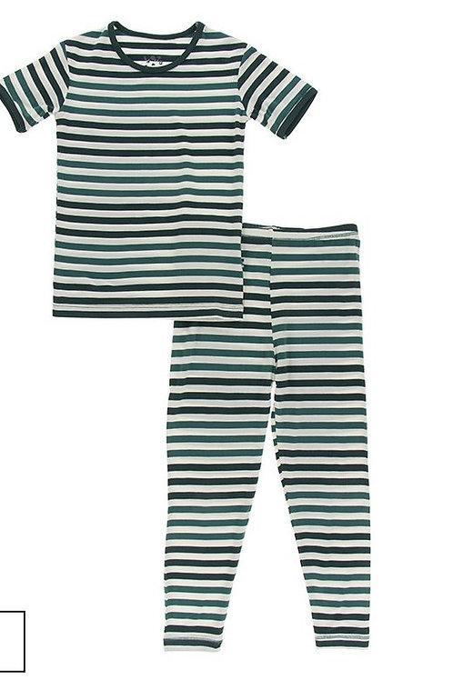 Short Sleeve Pajama Set Wildlife Stripe