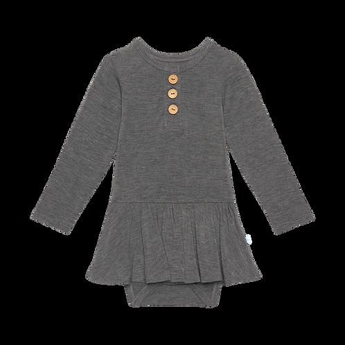 Posh Peanut Charcoal Heather  Long Sleeve Henley with Twirl Skirt Bodysuit