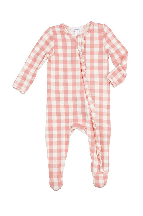 Angel Dear Gingham Ruffle Front Zipper Footie Pink