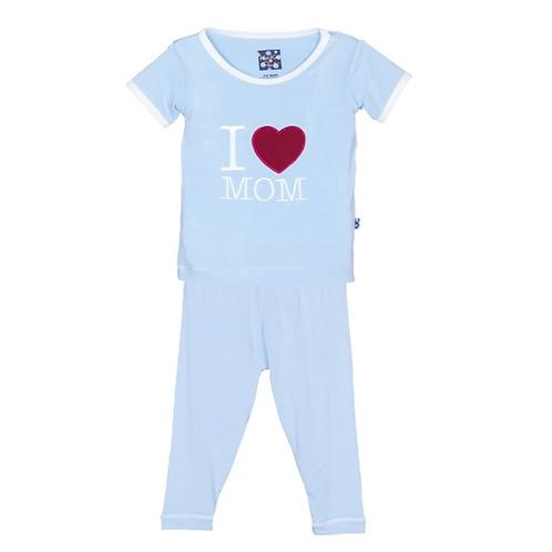 Short Sleeve Applique Pajama Set Pond I Love Mom