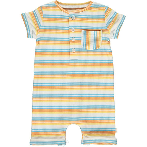 Me & Henry Camborne Henley Romper Yellow/Papaya/Blue Ribbed Stripe