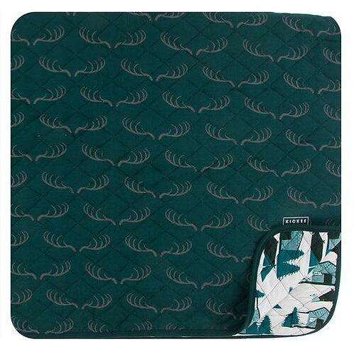 Print Quilted Toddler Blanket Pine Deer Rack