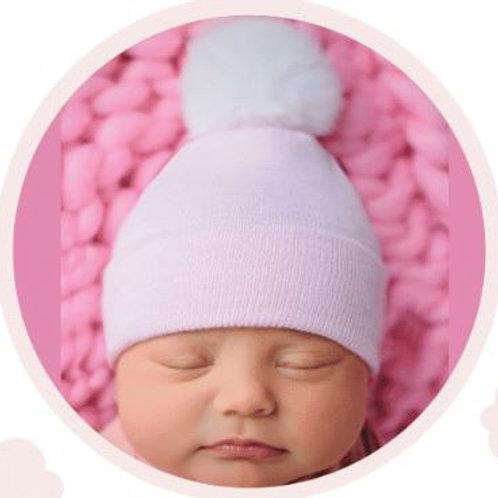 ilybean Pink Hat Fuzzy White Pom