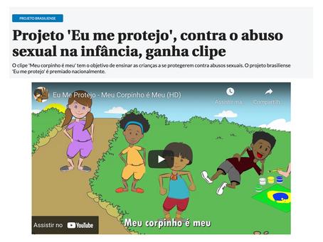Correio Braziliense - Projeto 'Eu me protejo', contra o abuso sexual na infância, ganha clipe