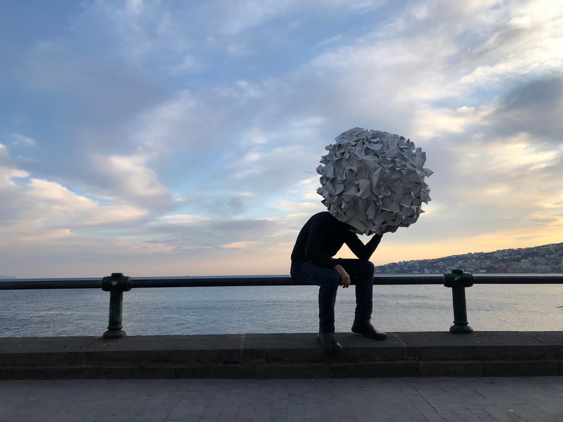 self-portrait on the promenade of Naples