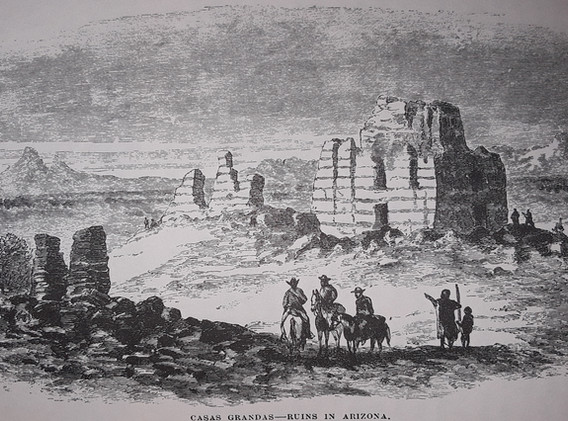 19th Century sketch of Casa Grande Ruins near my home