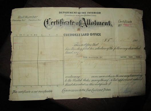 My Family's Cherokee Tribal Member's Land grant