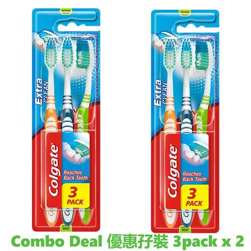 高露潔 - 英國製造中毛 Extra Clean牙刷 3支裝 x 2