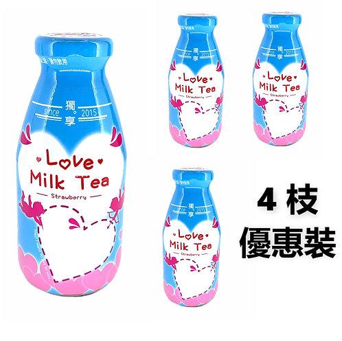 台灣直送 - 獨享 愛戀奶茶(草莓味)藍樽 290ml x4樽