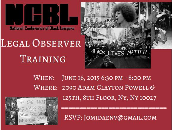 NCBL Legal Observer Flier 2015