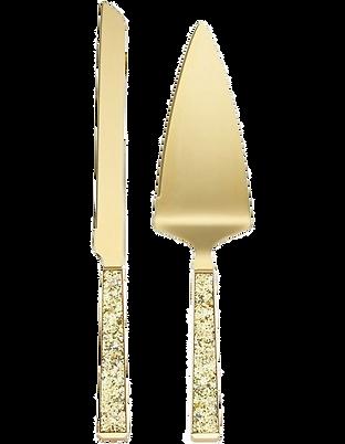 Sparkling Gold Cake Knife Server Wedding Event Hire Brisbane Gold Coast